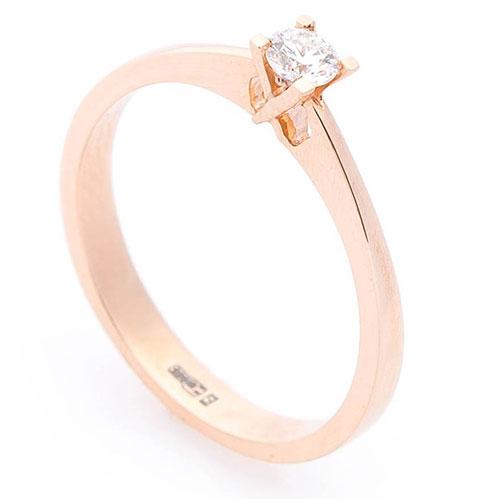 Кольцо помолвочное с белым бриллиантом, фото
