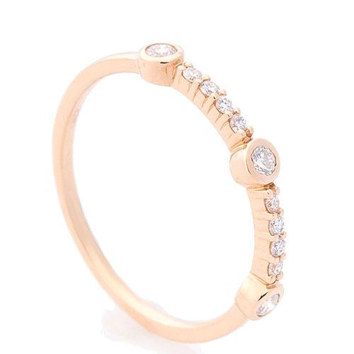 Кольцо из красного золота Оникс с белыми бриллиантами, фото