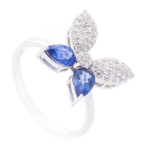 Кольцо Оникс Бабочка в сапфирах и бриллиантах, фото
