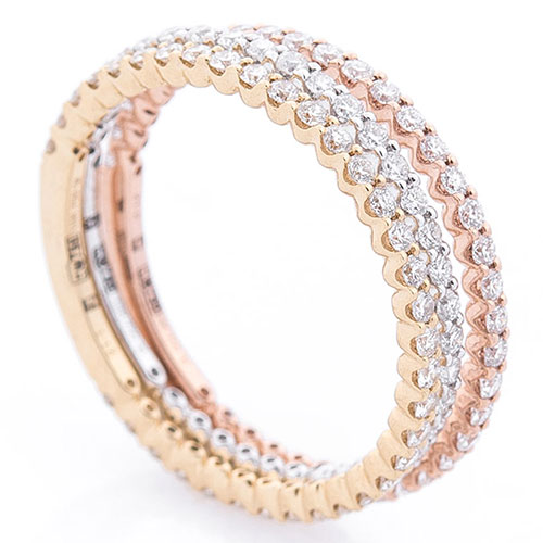 Тройное кольцо Оникс с бриллиантами, фото