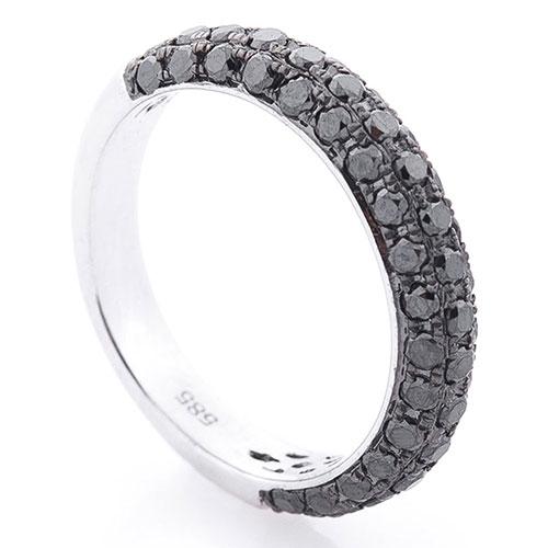 Женское кольцо Оникс с черными бриллиантами, фото