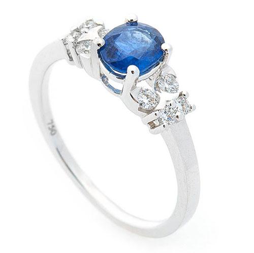 Золотое кольцо Оникс с крупным сапфиром, фото