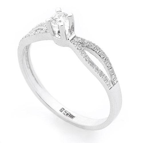 Кольцо с бриллиантами Оникс из белого золота, фото