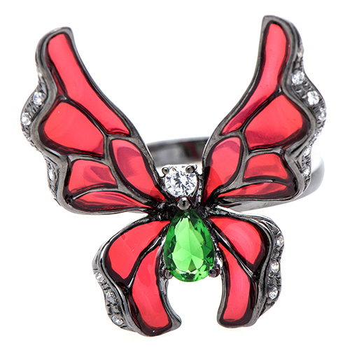 Кольцо 935 by Roberto Bravo с бабочкой красного цвета, фото