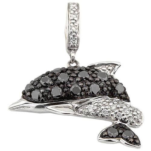 Золотая подвеска в виде дельфина с бриллиантами, фото