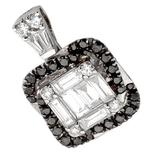 Золотой кулон с белыми и черными бриллиантами, фото