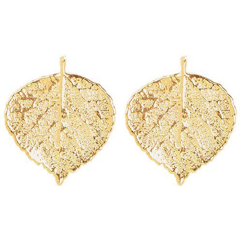 Серьги-гвоздики Ester Bijoux из листочков осины в позолоте, фото