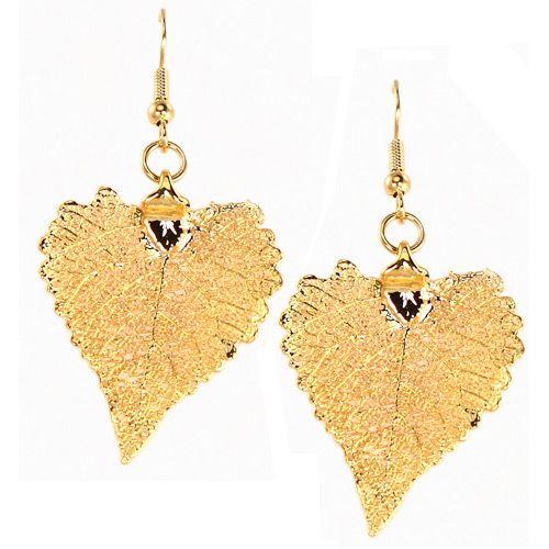 Серьги Ester Bijoux Лист хлопка в золоте, фото