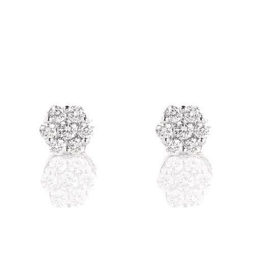 Серьги-пусеты в виде мелких цветочков из белого золота с бриллиантами, фото
