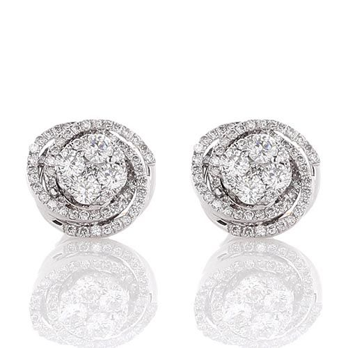 Серьги-гвоздики в форме розочки с бриллиантами, фото
