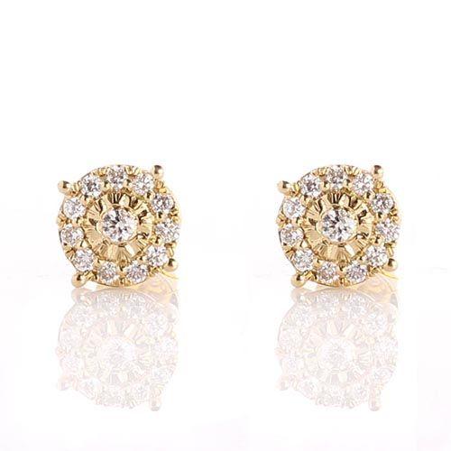 Серьги-пусеты инкрустированные бриллиантами, фото