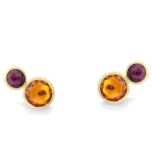 Маленькие серьги-гвоздики Marco Bicego Jaipur с оранжевыми камнями, фото