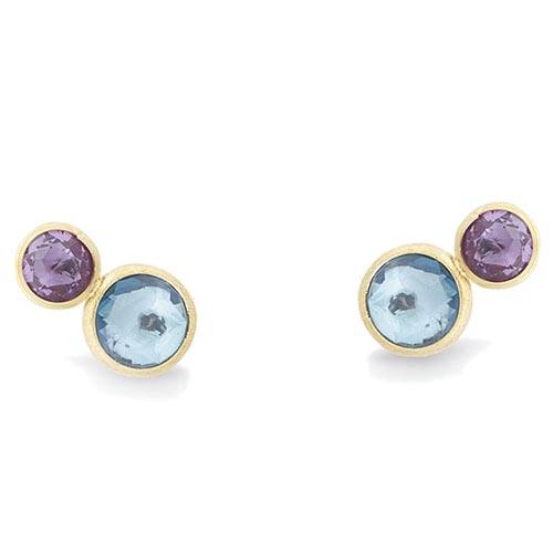 Серьги-гвоздики Marco Bicego Jaipur с драгоценными камнями голубого цвета, фото