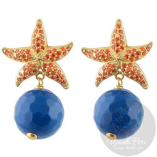 Серьги-пусеты Misis Isla de Mujeres морские звезды с цирконами и синим агатом, фото