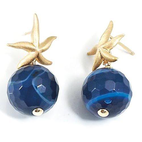 Серьги Misis Krill с синим агатом и морскими звездами, фото