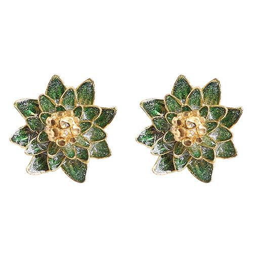 Серьги-пусеты Misis Geisha в форме цветка с эмалью зеленого цвета, фото