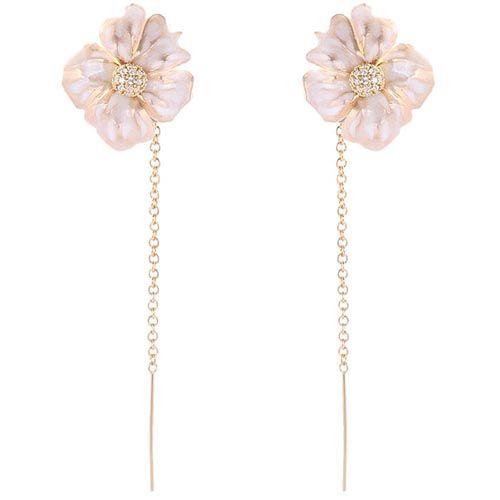 Серьги-пусеты Misis с цветком и цепочками, фото