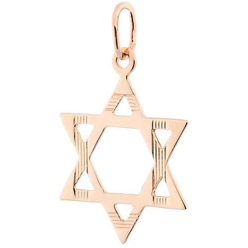 Звезда Давида из золота с насечками, фото