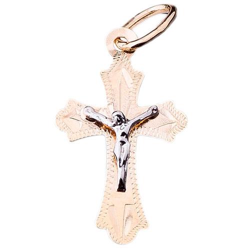 Крестик из желтого золота с рифлением, фото