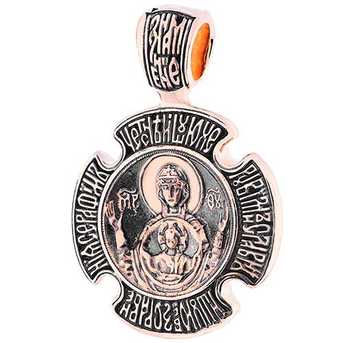 Черненая ладанка Знамение из красного золота, фото