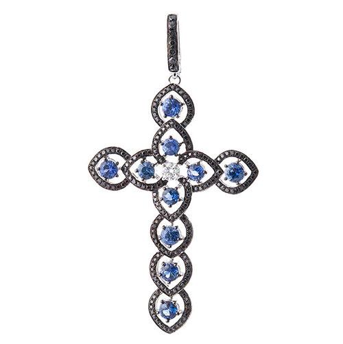Золотая подвеска-крестик Оникс с бриллиантами и сапфирами, фото