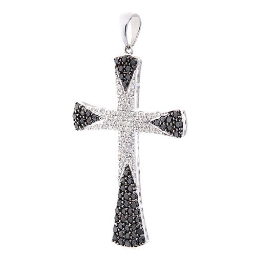 Крестик из золота Оникс с черными и белыми бриллиантами, фото