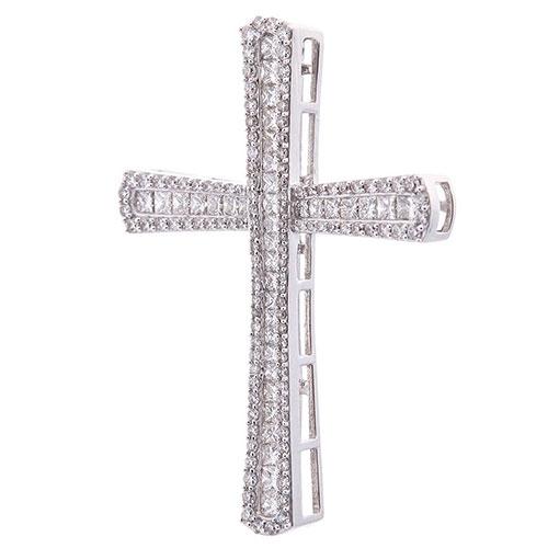 Крестик с бриллиантами из белого золота, фото