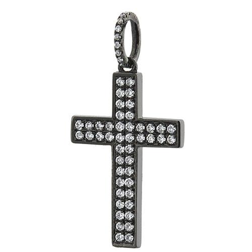Золотой крестик Оникс черного цвета, фото