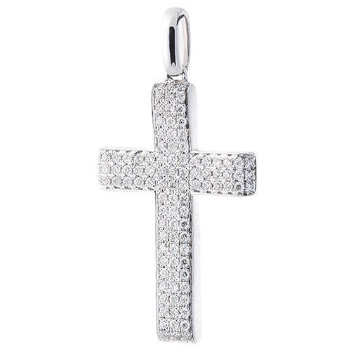 Широкий крестик из белого золота, фото