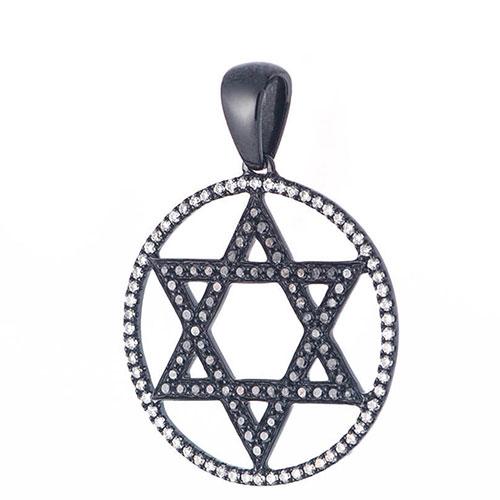 Подвеска Звезда Давида Оникс с бриллиантами, фото