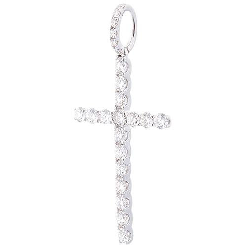 Тонкий крестик Оникс с бриллиантами, фото