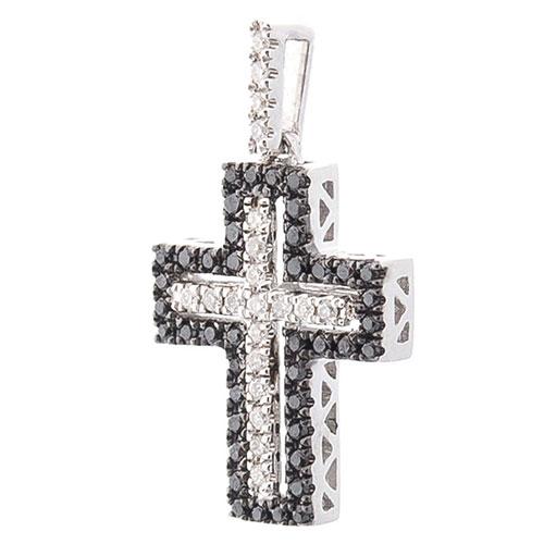 Крестик Оникс с черными и белыми бриллиантами, фото