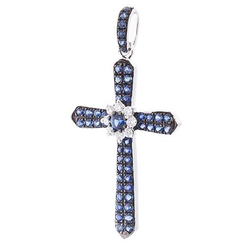 Подвеска Оникс с бриллиантами и синими сапфирами, фото