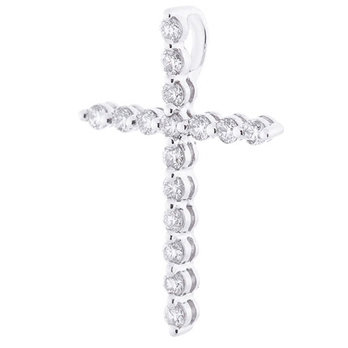 Крестик с белыми бриллиантами Оникс из золота, фото
