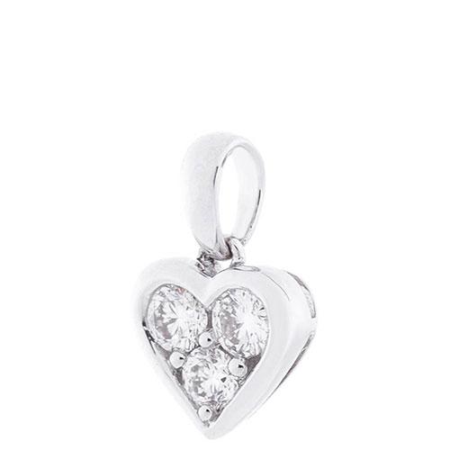 Подвеска-сердце Оникс из белого золота, фото