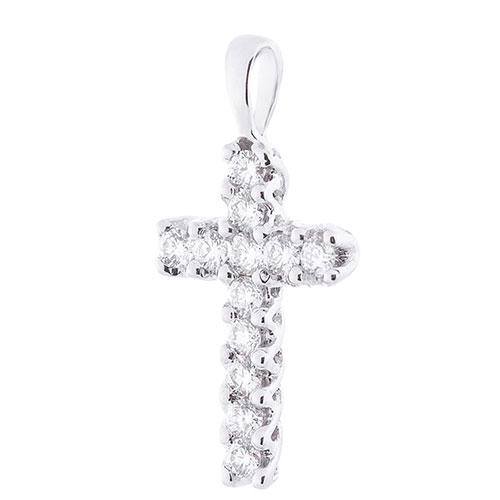 Золотой крестик Оникс с белыми бриллиантами, фото
