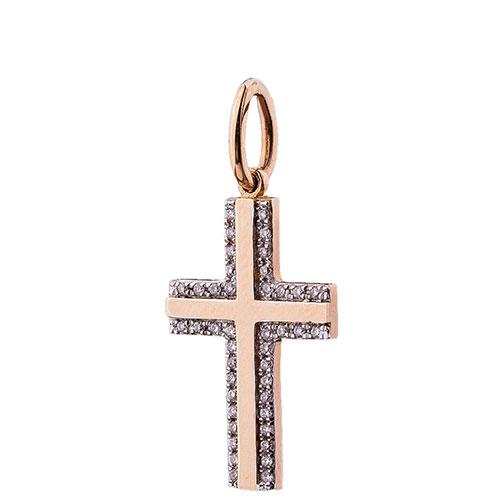 Золотой крестик Оникс с бриллиантами, фото