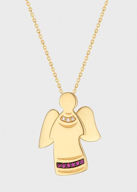 Подвеска с цепочкой Art Vivace Jewelry Ангел с бриллиантами и рубинами, фото