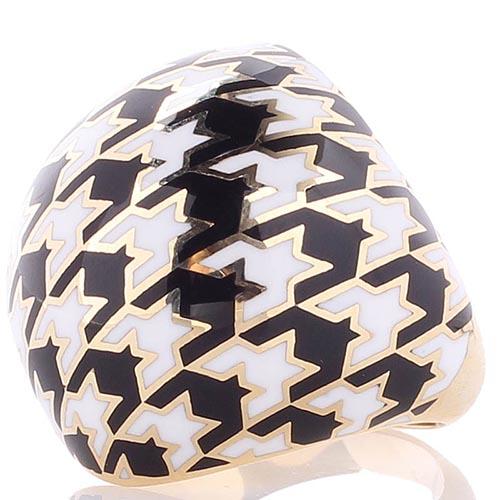 Крупное широкое кольцо Roberto Bravo Pied De Poule с орнаментом гусиная лапка, фото