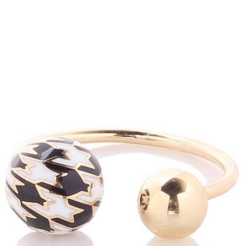 Разомкнутое кольцо Roberto Bravo Pied De Poule с двумя шариками и орнаментом гусиная лапка, фото