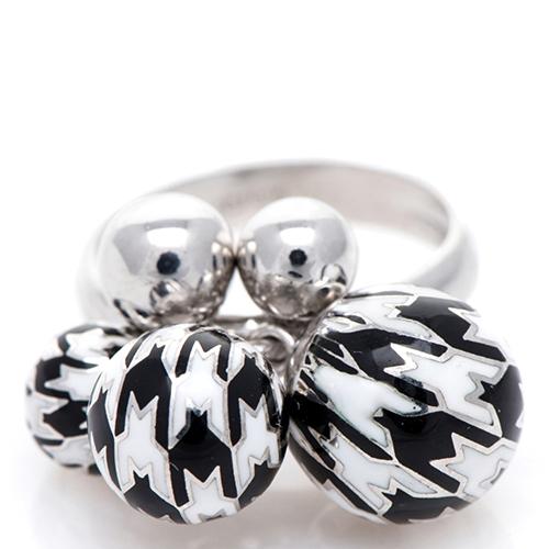 Кольцо 935 by Roberto Bravo с шариками черно-белого цвета, фото