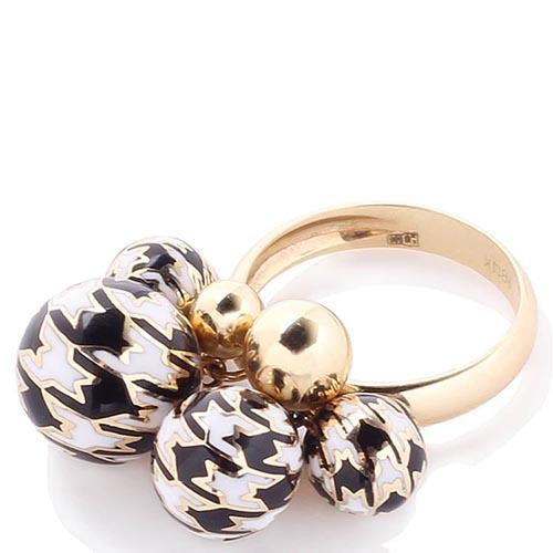 Золотое кольцо Roberto Bravo Pied De Poule с шариками-подвесами с орнаментом, фото