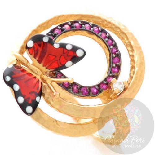 Кольцо Roberto Bravo Monarch Butterflies золотое с бриллиантом и рубинами, фото