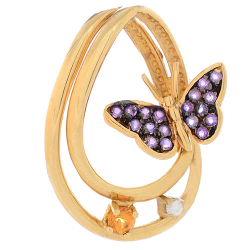 Подвеска Roberto Bravo Monarch Butterflies с аметистами цитрином и бриллиантом, фото