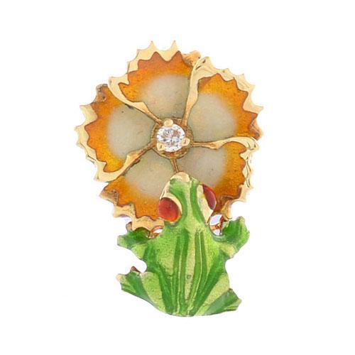 Подвеска Roberto Bravo Noahs Ark с лягушкой цветком и бриллиантом, фото