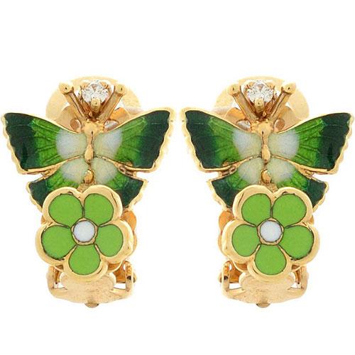 Серьги Roberto Bravo Noahs Ark золотые с бабочками и бриллиантами, фото