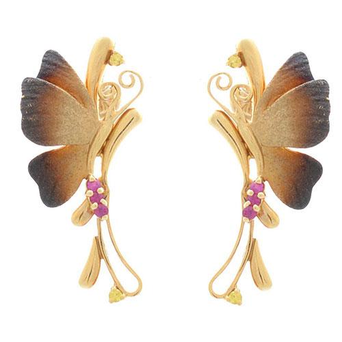 Серьги Roberto Bravo Global Warming золотые с бабочками рубинами и цитринами, фото