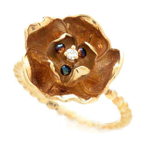 Кольцо Roberto Bravo Gallica в виде золотого цветка с бриллиантом, фото
