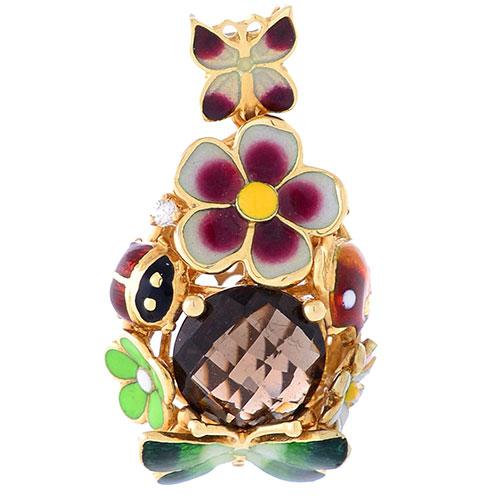 Подвеска Roberto Bravo Noahs Ark золотая крупная с дымчатым кварцем и бриллиантом, фото