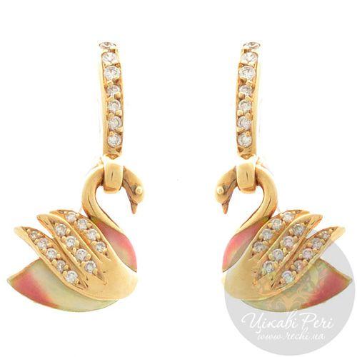 Серьги Roberto Bravo Swan Lake золотые с украшенными 40 бриллиантами лебедями, фото